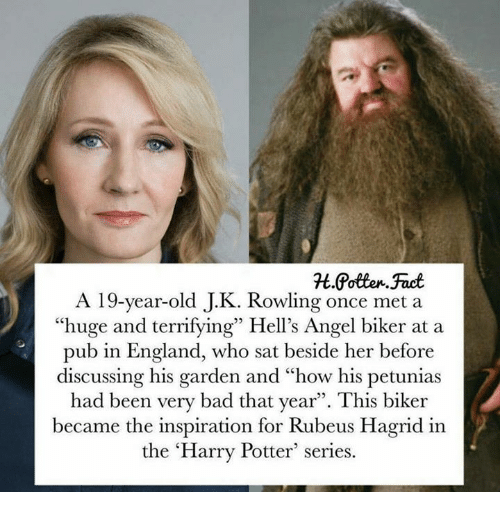 "hagrid: A 19-year-old J.K. Rowling once met a  ""huge and terrifying"" Hell's Angel biker at a  pub in England, who sat beside her before  discussing his garden and ""how his petunias  had been very bad that year"". This biker  became the inspiration for Rubeus Hagrid in  the 'Harry Potter series."