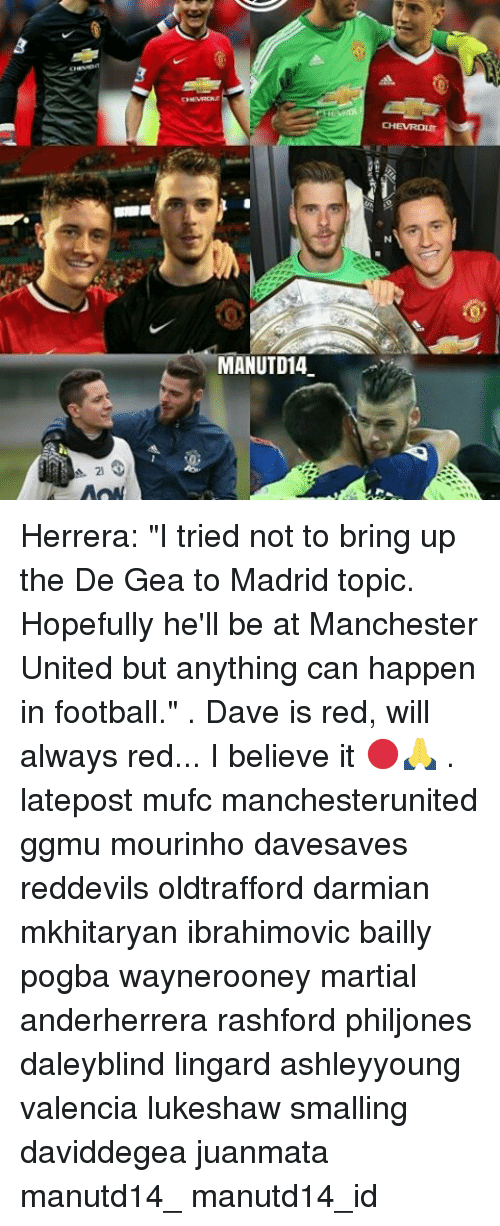 "Memes, 🤖, and Red: A. 21  MANUTD14 Herrera: ""I tried not to bring up the De Gea to Madrid topic. Hopefully he'll be at Manchester United but anything can happen in football."" . Dave is red, will always red... I believe it 🔴🙏 . latepost mufc manchesterunited ggmu mourinho davesaves reddevils oldtrafford darmian mkhitaryan ibrahimovic bailly pogba waynerooney martial anderherrera rashford philjones daleyblind lingard ashleyyoung valencia lukeshaw smalling daviddegea juanmata manutd14_ manutd14_id"