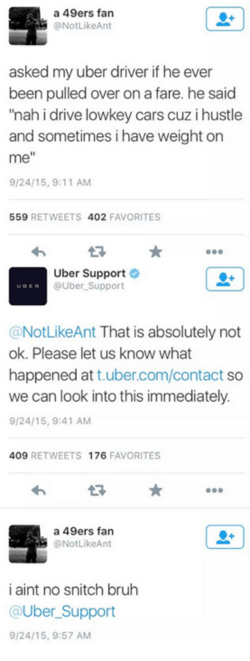 """49er: a 49ers fan  @No Like Ant  asked my uber driver if he ever  been pulled over on a fare. he said  """"nah i drive lowkey cars cuz i hustle  and sometimes i have weight on  me  9/24/15, 9:11 AM  559  RETWEETS  402  FAVORITES  Uber Support  UBER @Uber Support  @NotLikeAnt That is absolutely not  ok. Please let us know what  happened att uber.com/contact so  we can look into this immediately.  9/24/15, 9:41 AM  409  RETWEETS 176  FAVORITES  a 49ers fan  @NotLikeAnt  i aint no snitch bruh  @Uber Support  9/24/15, 9:57 AM"""