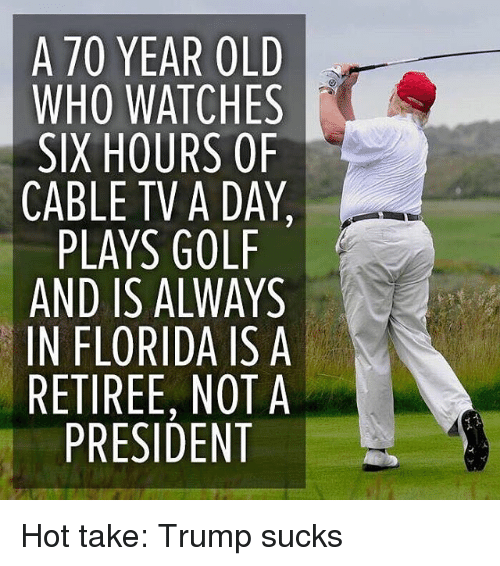 Memes, Florida, and Golf: A 70 YEAR OLD  WHO WATCHES  SIX HOURS OF  CABLE TV A DAY,  PLAYS GOLF  AND IS ALWAYS  IN FLORIDA IS A  RETIREE, NOT A  PRESIDENT Hot take: Trump sucks