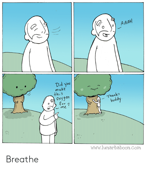 Thanks Buddy: A AAH  Did You  make  this  OxYgen  for  Thanks  buddy  me  www.lunarbaboon.com Breathe