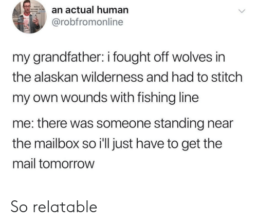 Wilderness: a actual human  @robfromonline  my grandfather: i fought off wolves in  the alaskan wilderness and had to stitch  my own wounds with fishing line  me: there was someone standing near  the mailbox so i'll just have to get the  mail tomorrow So relatable