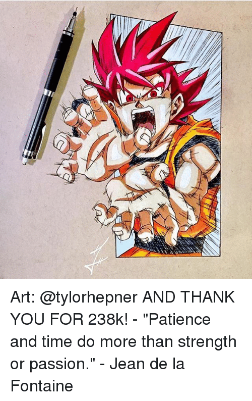 """Memes, Thank You, and Patience: a Art: @tylorhepner AND THANK YOU FOR 238k! - """"Patience and time do more than strength or passion."""" - Jean de la Fontaine"""