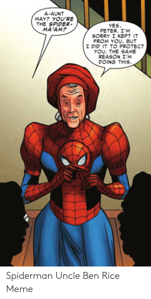 Meme, Sorry, and Spider: A-AUNT  MAY? YOU'RE  THE SPIDER  MA'AM  YES  PETER. I'M  SORRY I KEPT IT  FROM YOU, BUT  I DID IT TO PROTECT  YOU. THE SAME  REASON I'M  DOING THIS Spiderman Uncle Ben Rice Meme