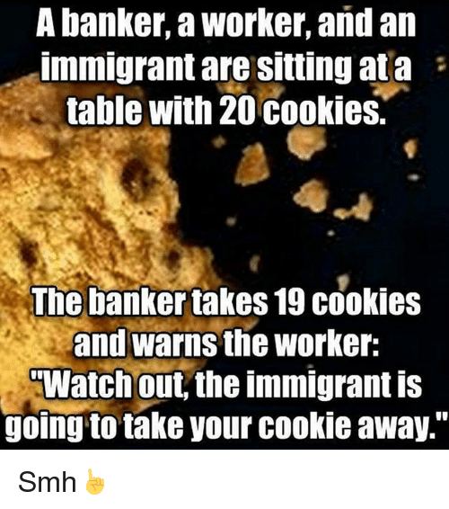 """Cookies, Memes, and Smh: A banker, aworker, and an  Immigrantare Sitting ata  table with 20 cookies.  The bankertakes 19 cookies  and warns the Worker:  Watch out, the immigrant is  going to take your cookie away."""" Smh☝"""