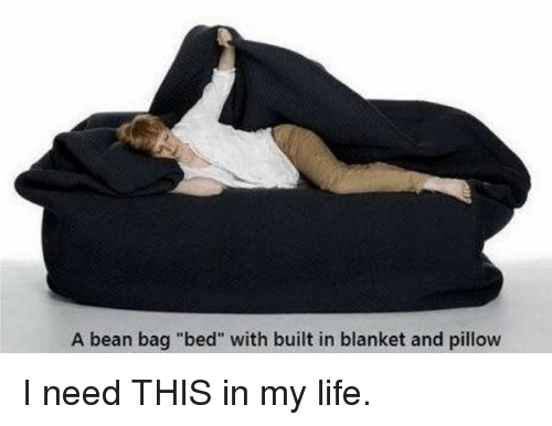 "Bean Bagged: A bean bag ""bed"" with built in blanket and pillow I need THIS in my life."