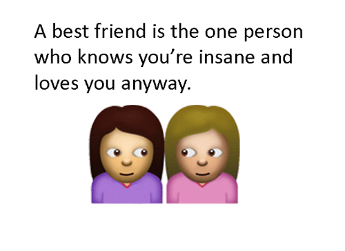 best friend: A best friend is the one person  who knows you're insane and  loves you anyway