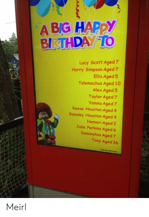 Reese: A BIG HAPPY  BIRTHDAY TO  GOI  Lucy Scott Aged 7  Harry Simpson Aged 7  Ellis Aged 5  Telemachus Aged 10  Alex Aged 5  Taylor Aged 7  Yamna Aged 7  Reese Houston Aged 4  Ramdey Houston Aged 4  Namari Aged 2  Jake Perkins Aged 6  TINUE  Dominykas Aged 7  Tony Aged 36  e2015 The LEGO Group Meirl