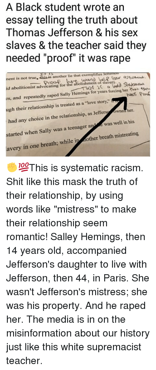 search thomas jefferson memes on me a black student wrote an essay telling the truth about thomas