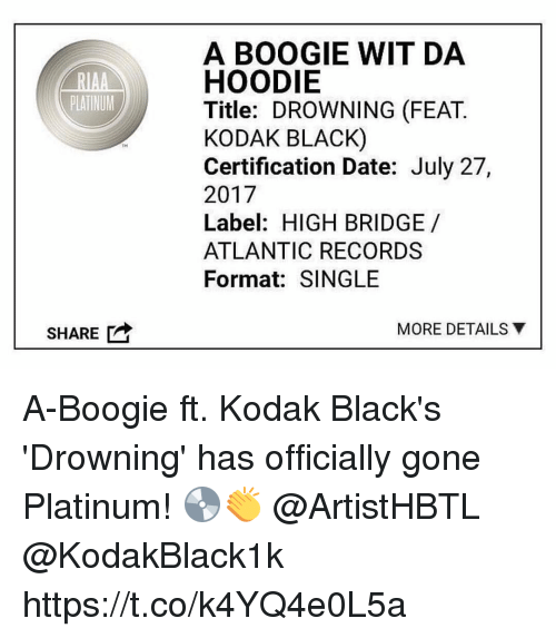 Black, Date, and Single: A BOOGIE WIT DA  RIAAHOODIE  PLATINUM  Title: DROWNING (FEAT.  KODAK BLACK)  Certification Date: July 27,  2017  Label: HIGH BRIDGE/  ATLANTIC RECORDS  Format: SINGLE  TH  SHARE  MORE DETAILS ▼ A-Boogie ft. Kodak Black's 'Drowning' has officially gone Platinum! 💿👏 @ArtistHBTL @KodakBlack1k https://t.co/k4YQ4e0L5a