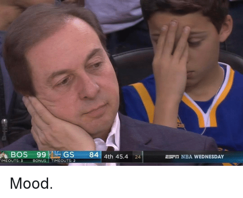Basketball, Golden State Warriors, and Sports: A BOS 99 GS  84  4th 45.4  24  TIMEOUTS: 3  BONUS  TIMEOUTS: 2  ESET NBA WEDNESDAY Mood.