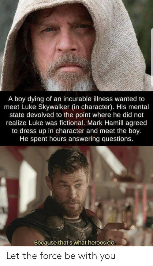answering: A boy dying of an incurable illness wanted to  meet Luke Skywalker (in character). His mental  state devolved to the point where he did not  realize Luke was fictional. Mark Hamill agreed  to dress up in character and meet the boy.  He spent hours answering questions.  Because that's what heroes do. Let the force be with you