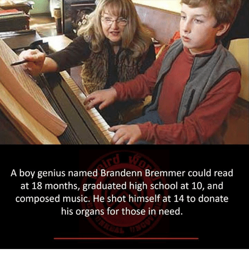 Memes, Music, and School: A boy genius named Brandenn Bremmer could read  at 18 months, graduated high school at 10, and  composed music. He shot himself at 14 to donate  his organs for those in need.