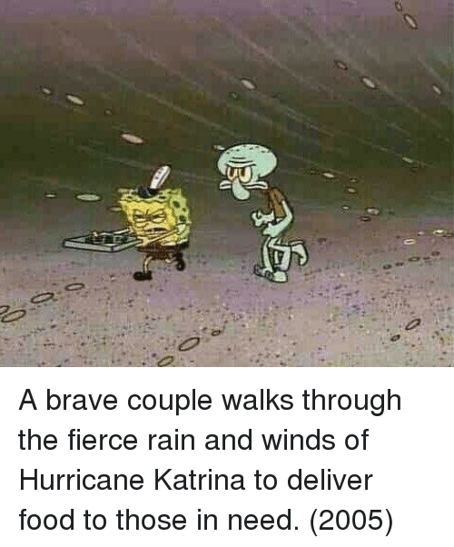 katrina: A brave couple walks through the fierce rain and winds of Hurricane Katrina to deliver food to those in need. (2005)
