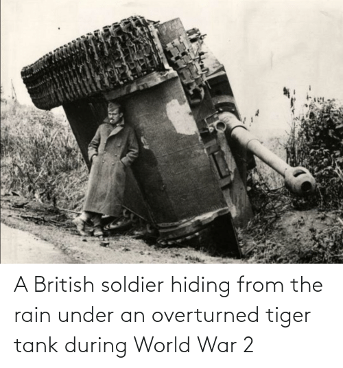 World War 2: A British soldier hiding from the rain under an overturned tiger tank during World War 2