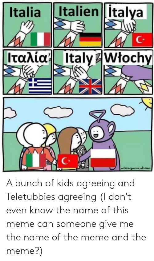 name of: A bunch of kids agreeing and Teletubbies agreeing (I don't even know the name of this meme can someone give me the name of the meme and the meme?)