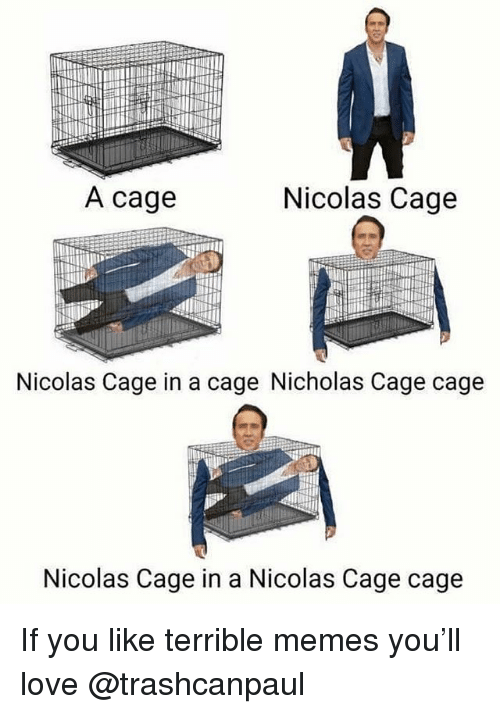 Terrible Memes: A cage  Nicolas Cage  Nicolas Cage in a cage Nicholas Cage cage  Nicolas Cage in a Nicolas Cage cage If you like terrible memes you'll love @trashcanpaul