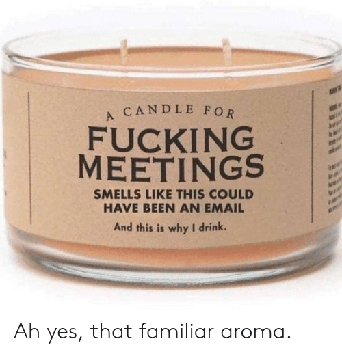Meetings: A CANDLE FOR  FUCKING  MEETINGS  SMELLS LIKE THIS COULD  HAVE BEEN AN EMAIL  And this is why I drink. Ah yes, that familiar aroma.
