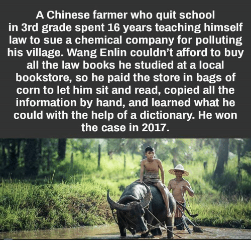 Quit School: A Chinese farmer who quit school  in 3rd grade spent 16 years teaching himself  law to sue a chemical company for polluting  his village. Wang Enlin couldn't afford to buy  all the law books he studied at a local  bookstore, so he paid the store in bags of  corn to let him sit and read, copied all the  information by hand, and learned what he  could with the help of a dictionary. He won  the case in 2017.