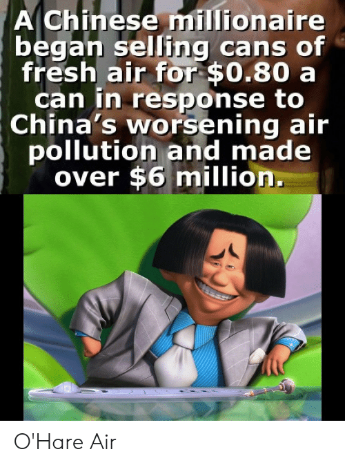 Cans: A Chinese millionaire  began selling cans of  fresh air for $0.80 a  can in response to  China's worsening air  pollution and made  over $6 million. O'Hare Air