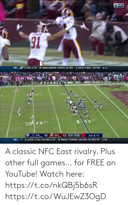 nfc east: A classic NFC East rivalry.  Plus other full games… for FREE on YouTube!  Watch here: https://t.co/nkQBj5b6sR https://t.co/WuJEwZ3OgD