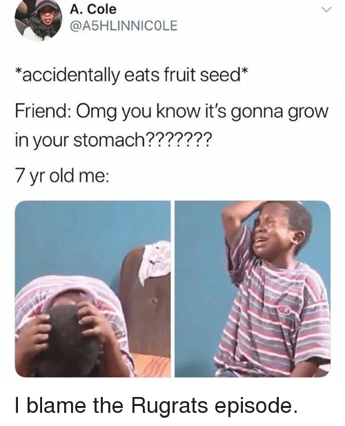 Funny, Omg, and Rugrats: A. Cole  A5HLINNICOLE  *accidentally eats fruit seed*  Friend: Omg you know it's gonna grow  in your stomach???????  7 yr old me: I blame the Rugrats episode.