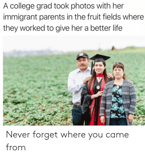 better life: A college grad took photos with her  immigrant parents in the fruit fields where  they worked to give her a better life Never forget where you came from