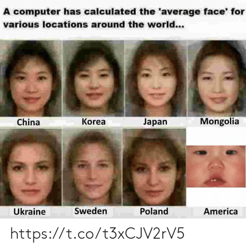 Mongolia: A computer has calculated the 'average face' for  various locations around the world...  Mongolia  Korea  Japan  China  Ükraine  Sweden  Poland  America https://t.co/t3xCJV2rV5