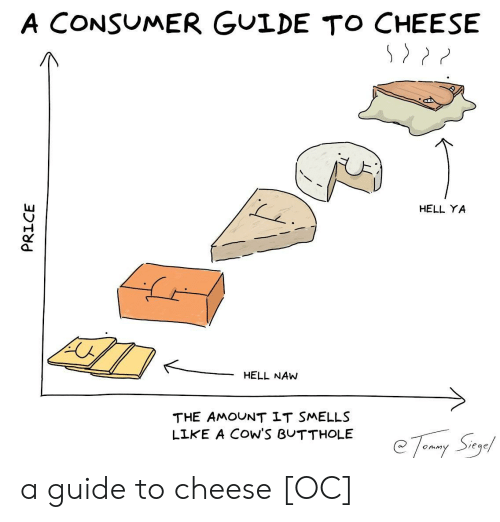 """Consumer: A CONSUMER GULDE TO CHEESE  HELL YA  HELL NAW  THE AMOUNT LT SMELLS  LIKE A COW'S BUTTHOLE  @ 