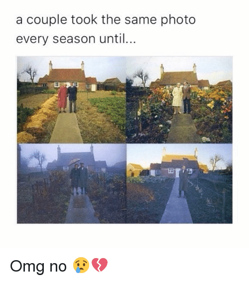 Memes, 🤖, and Photos: a couple took the same photo  every season until Omg no 😢💔