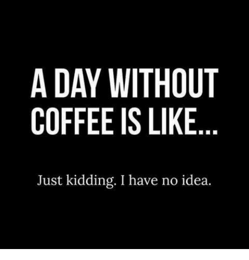 Without Coffee: A DAY WITHOUT  COFFEE IS LIKE  Just kidding. I have no idea.