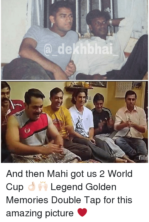 Amazed Pictures: a dekhbhai  fil And then Mahi got us 2 World Cup 👌🏻🙌🏻 Legend Golden Memories Double Tap for this amazing picture ❤️