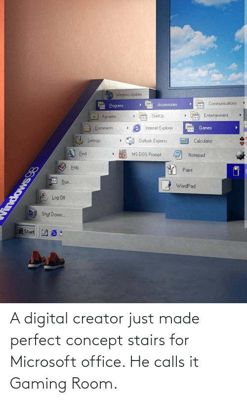 Microsoft Office: A digital creator just made perfect concept stairs for Microsoft office. He calls it Gaming Room.
