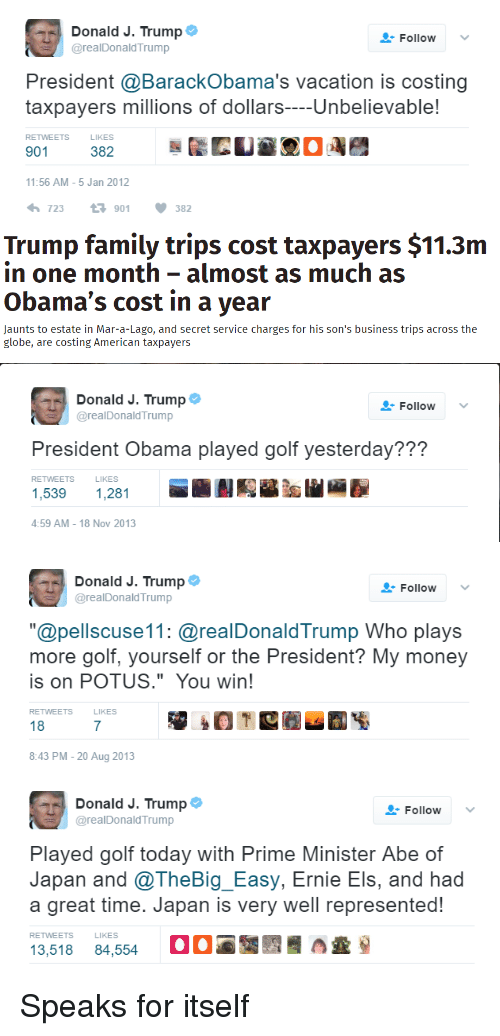 """Facepalm, Family, and Money: a Donald J. Trump  Follow  v  arealDonald Trump  President a BarackObama's vacation is costing  taxpayers millions of dollars  Unbelievable!  RETWEETS  LIKES  901  382  11:56 AM 5 Jan 2012  723 901 V 382   Trump family trips cost taxpayers $11.3m  in one month almost as much as  Obama's cost in a year  Jaunts to estate in Mar-a-Lago, and secret service charges for his son's business trips across the  globe, are costing American taxpayers   a Donald J. Trump  Follow  v  arealDonald Trump  President Obama played golf yesterday???  RETWEETS  LlKES  1,281  4:59 AM 18 Nov 2013   Donald J. Trump  Follow  v  arealDonald Trump  """"Capellscuse11: @realDonaldTrump Who plays  more golf, yourself or the President? My money  is on POTUS."""" You win!  RETWEETS  18  8:43 PM 20 Aug 2013   Donald J. Trump  Follow  v  arealDonald Trump  Played golf today with Prime Minister Abe of  Japan and @TheBig Easy, Ernie Els, and had  a great time. Japan is very well represented!  13,518 84,554 Oa A Speaks for itself"""