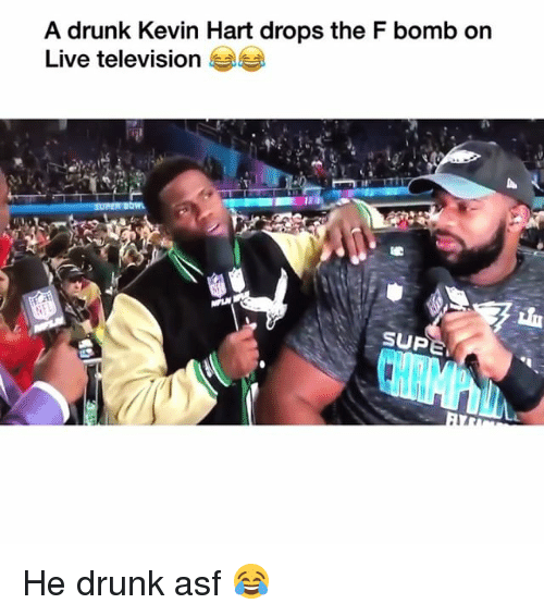 Drunk, Funny, and Kevin Hart: A drunk Kevin Hart drops the F bomb on  Live television  SUP He drunk asf 😂