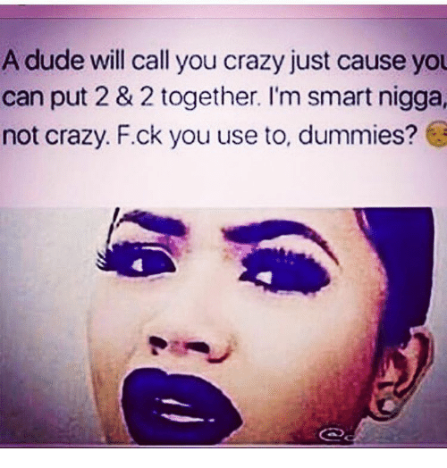 Dummie: A dude will call you crazy just cause you  can put 2 & 2 together. I'm smart nigga,  not crazy. F.ck you use to, dummies?