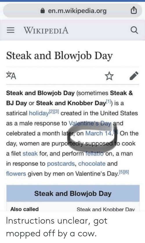 Bj Day: a en.m.wikipedia.org  WIKIPEDIA  Steak and Blowjob Day  XA  Steak and Blowjob Day (sometimes Steak &  BJ Day or Steak and Knobber Dayl1) is a  satirical holidayl2131 created in the United States  as a male response to Valentine's Day and  celebrated a month later, on March 14.On the  day, women are purportedly supposed to cook  a filet steak for, and perform fellatio on, a man  in response to postcards, chocolate and  flowers given by men on Valentine's Day.516  Steak and Blowjob Day  Also called  Steak and Knobber Dav Instructions unclear, got mopped off by a cow.