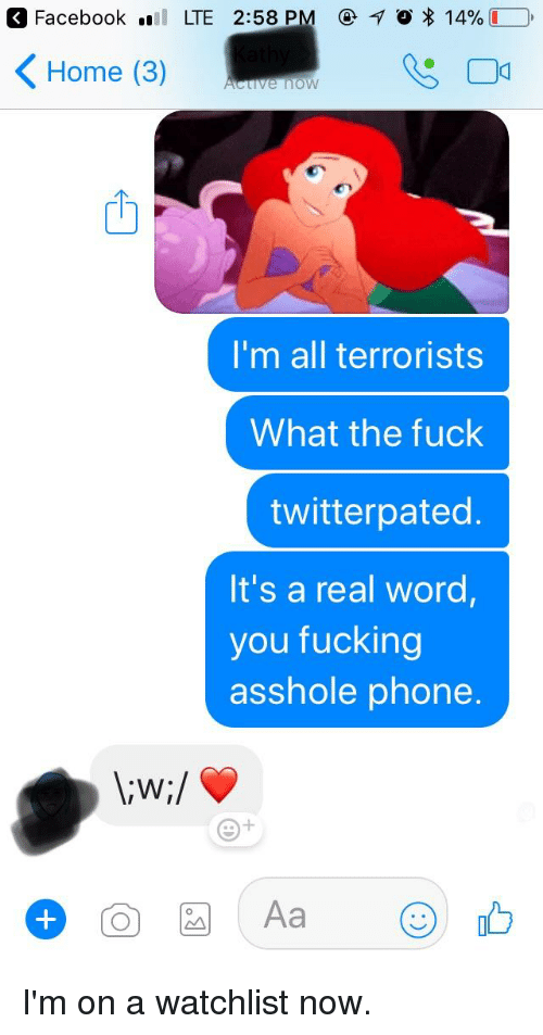 "twitterpated: a Facebook ""il LTE 2:58 PM @10*14% LO,  < Home (3)  ctive now  I'm all terrorists  What the fuck  twitterpated  It's a real word  you fucking  asshole phone."