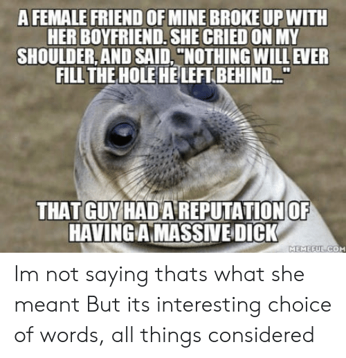 """Female Friend: A FEMALE FRIEND OF MINE BROKE UP WITH  HER BOYFRIEND, SHE CRIED ON MY  SHOULDER, AND SAID, """"NOTHING WILL EVER  FILL THE HOLE HELEFT BEHIND..""""  THAT GUY HADA REPUTATION OF  HAVINGAMASSİVE-DICK  MEMEFU Im not saying thats what she meant But its interesting choice of words, all things considered"""