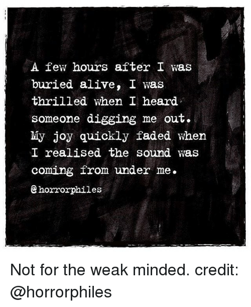 Alive, Memes, and Faded: A few hours after I was  buried alive, I was  thrilled when I heard  someone digging me out.  My joy quickly faded when  I realised the sound was  coming from under me.  horrorphiles Not for the weak minded. credit: @horrorphiles