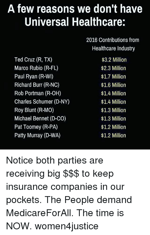 patty murray: A few reasons we don't have  Universal Healthcare:  Ted Cruz (R, TX)  Marco Rubio (R-FL)  Paul Ryan (R-WI)  Richard Burr (R-NC)  Rob Portman (R-OH)  Charles Schumer (D-NY)  Roy Blunt (R-MO)  Michael Bennet (D-CO)  Pat Toomey (R-PA)  Patty Murray (D-WA)  2016 Contributions from  Healthcare Industry  $3.2 Million  $2.3 Million  $1.7 Million  $1.6 Million  $1.4 Million  $1.4 Million  $1.3 Million  $1.3 Million  $1.2 Million  $1.2 Million Notice both parties are receiving big $$$ to keep insurance companies in our pockets. The People demand MedicareForAll. The time is NOW. women4justice