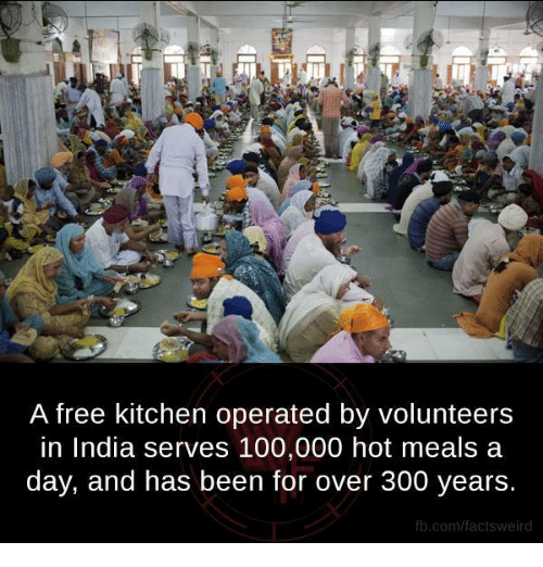 Anaconda, Memes, and 300: A free kitchen operated by volunteers  in India serves 100,000 hot meals a  day, and has been for over 300 years.  fb.com/fact tsweird