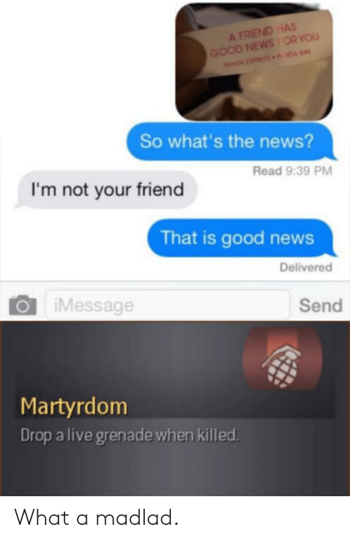 The News: A FRIEND HAS  GOOD NEWSOR YOU  NDA NDA  So what's the news?  Read 9:39 PM  I'm not your friend  That is good news  Delivered  iMessage  Send  Martyrdom  Drop a live grenade when killed What a madlad.