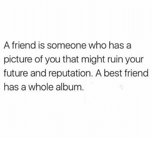 Best Friend, Dank, and Future: A friend is someone who has a  picture of you that might ruin your  future and reputation. A best friend  has a whole album