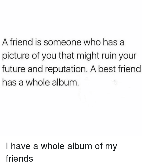 Best Friend, Dank, and Friends: A friend is someone who has a  picture of you that might ruin your  future and reputation. A best friend  has a whole album I have a whole album of my friends