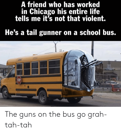 school bus: A friend who has worked  in Chicago his entire life  tells me it's not that violent.  He's a tail gunner on a school bus.  STOP The guns on the bus go grah-tah-tah