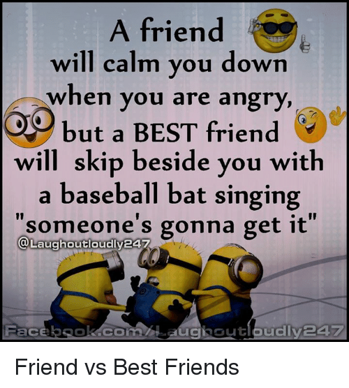 "Friend Vs Best Friend: A friend  will calm you down  when you are angry,  but a BEST friend  will skip beside you with  a baseball bat singing  ""someone's gonna get it  a Laughoutloudly24  Face  CI Out Friend vs Best Friends"