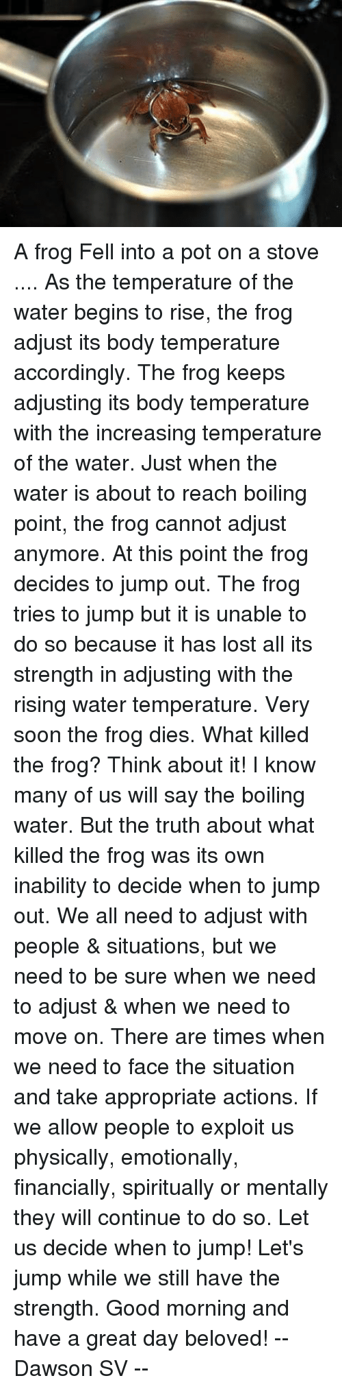 pot: A frog Fell into a pot on a stove .... As the temperature of the water begins to rise, the frog adjust its body temperature accordingly. The frog keeps adjusting its body temperature with the increasing temperature of the water. Just when the water is about to reach boiling point, the frog cannot adjust anymore. At this point the frog decides to jump out. The frog tries to jump but it is unable to do so because it has lost all its strength in adjusting with the rising water temperature. Very soon the frog dies. What killed the frog? Think about it! I know many of us will say the boiling water. But the truth about what killed the frog was its own inability to decide when to jump out. We all need to adjust with people & situations, but we need to be sure when we need to adjust & when we need to move on. There are times when we need to face the situation and take appropriate actions. If we allow people to exploit us physically, emotionally, financially, spiritually or mentally they will continue to do so. Let us decide when to jump! Let's jump while we still have the strength. Good morning and have a great day beloved! -- Dawson SV --