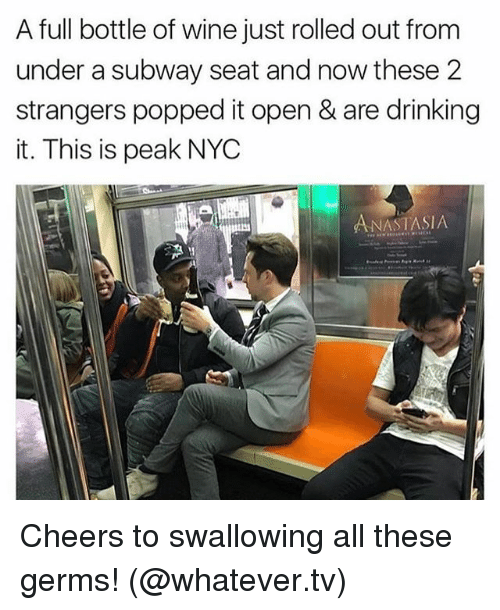 Anastasia: A full bottle of wine just rolled out from  under a subway seat and now these 2  strangers popped it open & are drinking  it. This is peak NYC  ANASTASIA Cheers to swallowing all these germs! (@whatever.tv)
