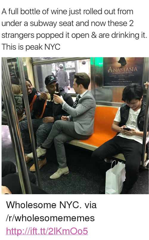 "broadway musical: A full bottle of wine just rolled out from  under a subway seat and now these 2  strangers popped it open & are drinking it  This is peak NYC  ANASTASIA  THE NEW BROADWAY MUSICAL <p>Wholesome NYC. via /r/wholesomememes <a href=""http://ift.tt/2lKmOo5"">http://ift.tt/2lKmOo5</a></p>"